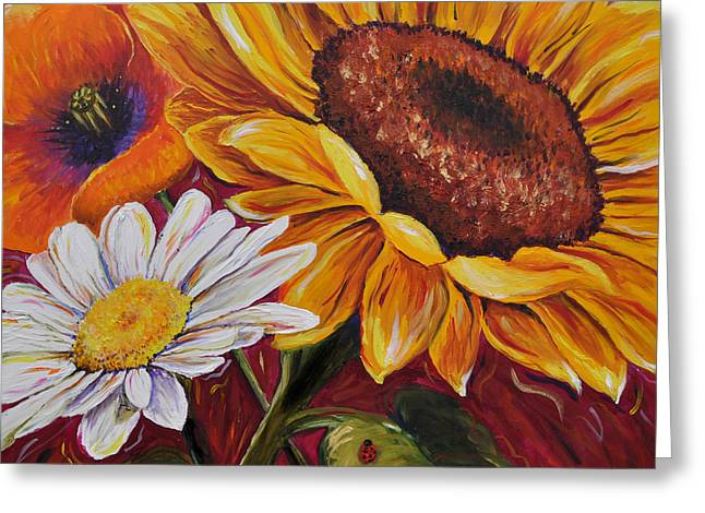 Greeting Card featuring the painting Kathrin's Flowers by Lisa Fiedler Jaworski