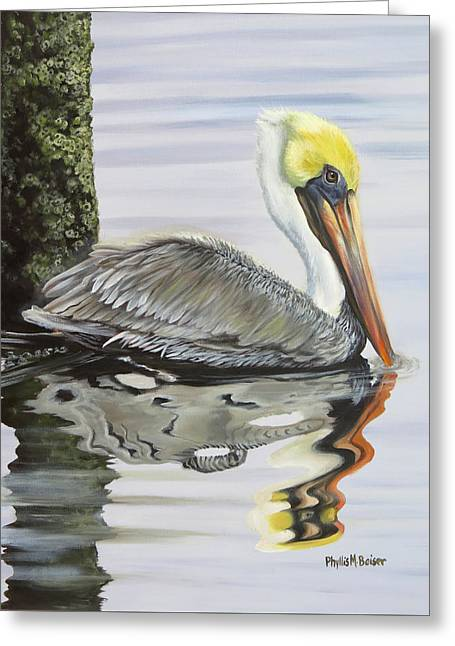 Kathy's Pelican Greeting Card by Phyllis Beiser