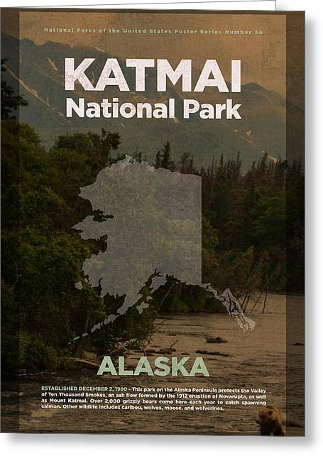 Katmai National Park In Alaska Travel Poster Series Of National Parks Number 34 Greeting Card