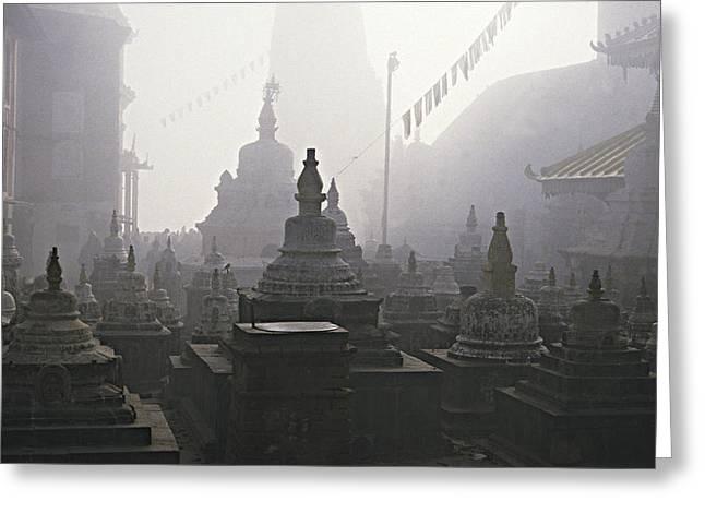 Katmandu Temple,nepal Greeting Card by David Edwards