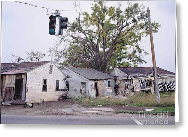Human Tragedy Greeting Cards - Katrina Aftermath - Pile Up on St. Claude Greeting Card by Peter Lerman
