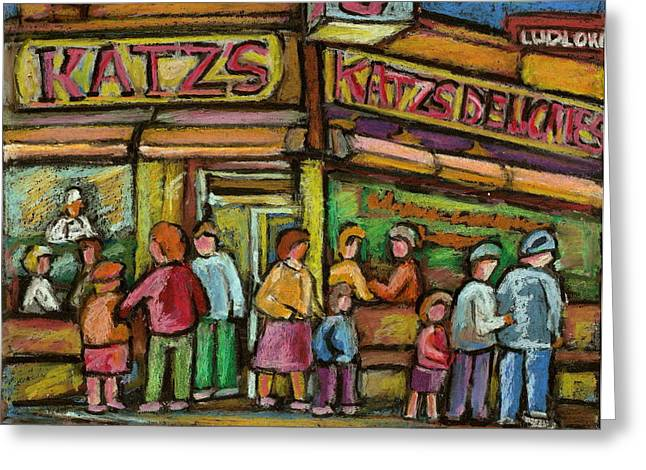 Katzs Delicatessan New York Greeting Card by Carole Spandau