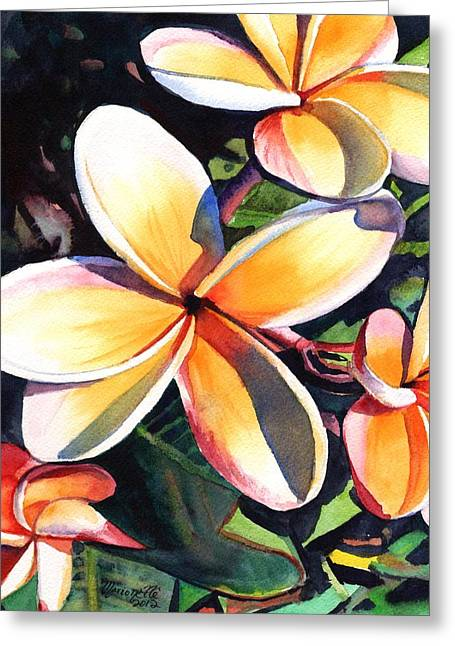 Kauai Rainbow Plumeria Greeting Card by Marionette Taboniar