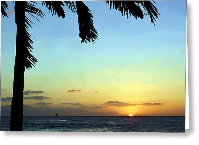 Kauai Sunset Greeting Card by Ellen Henneke