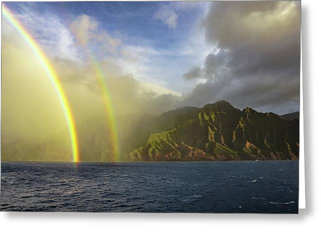 Kauai Sunset Rainbow Greeting Card