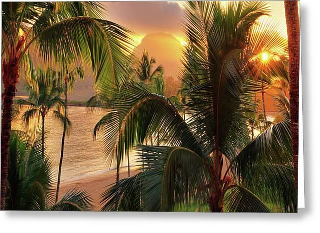 Olena Art Kauai Tropical Island View Greeting Card