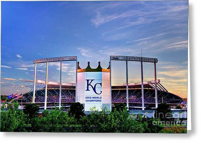 Royals Kauffman Stadium 2015 World Champions Greeting Card by Jean Hutchison