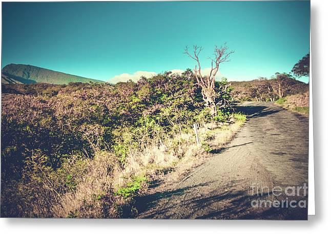 Kaupo Other Road To Hana Sunset Piilani Highway Maui Hawaii Greeting Card by Sharon Mau