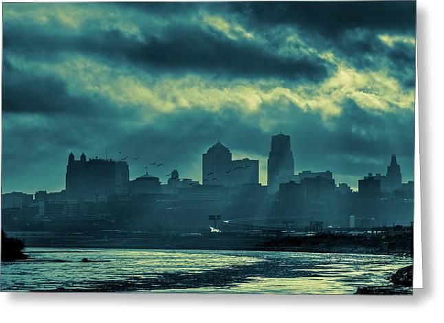 Kaw Point Kansas City Skyline Greeting Card