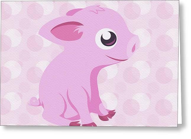 Kawaii Cute Piglet Greeting Card
