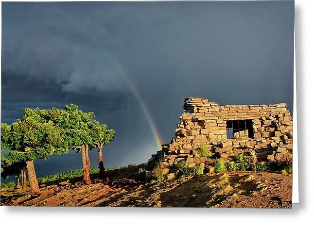 Kawanis Cabin Rainbow, Sandia Crest, New Mexico Greeting Card