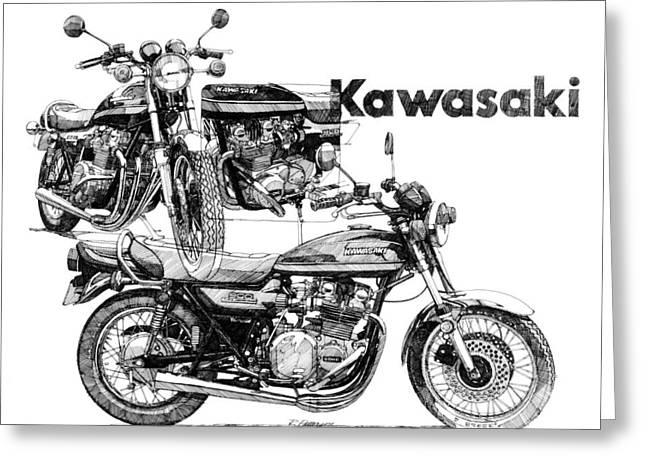 Kawasaki 900 Greeting Card by Ron Patterson