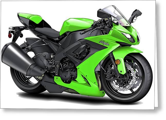 Kawasaki Ninja Green Motorcycle Digital Art by Maddmax