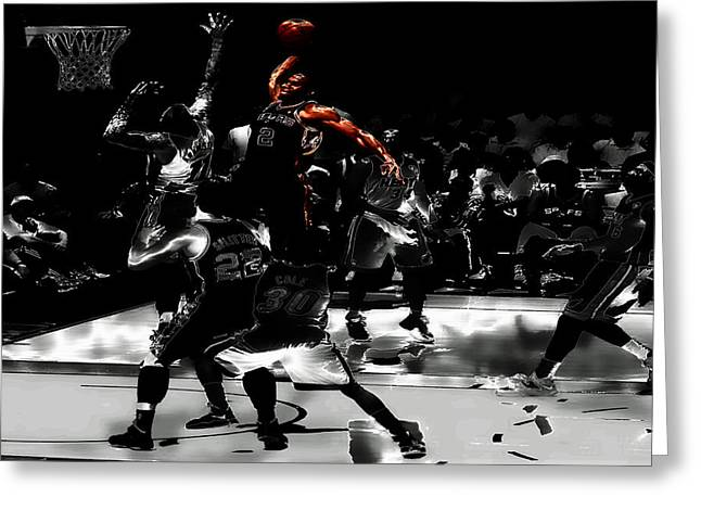 Kawhi Leonard Nasty Slam Greeting Card by Brian Reaves