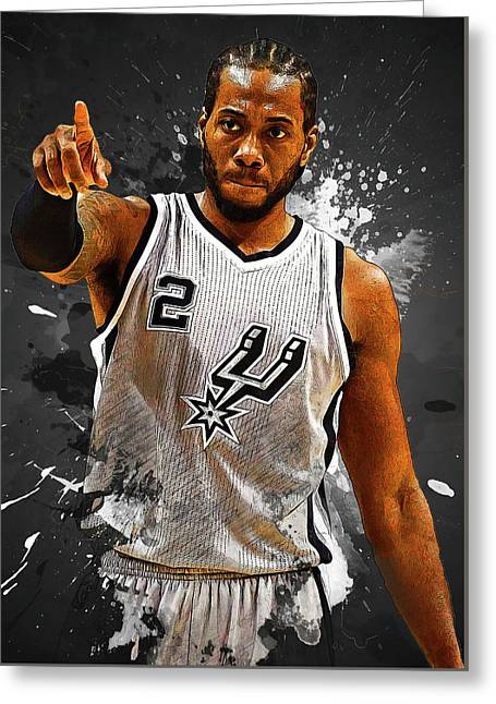 Kawhi Leonard Greeting Card by Semih Yurdabak