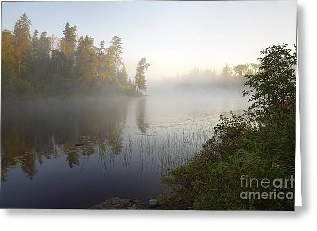 Greeting Card featuring the photograph Kawishiwi Morning Fog by Larry Ricker
