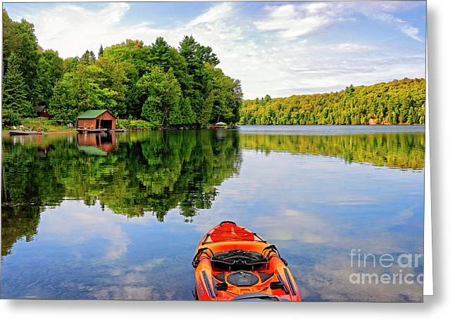 Kayak And Cottages In Gatineau Park Greeting Card