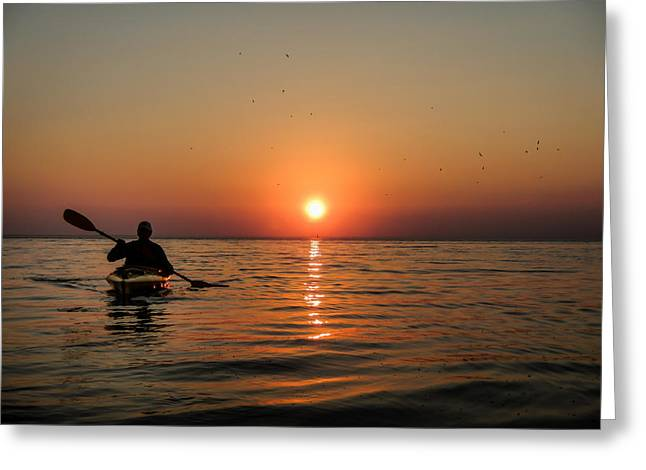 Kayak At Sunset Greeting Card