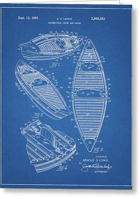 Kayak Canoe Patent Greeting Card