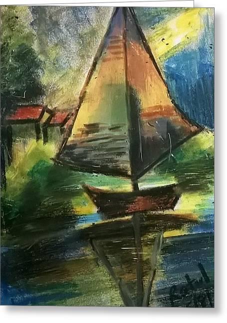 Kayak Greeting Card by Miss Ratul Banerjee