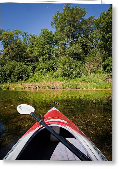 Kayak On A Forested Lake Greeting Card by Steve Gadomski