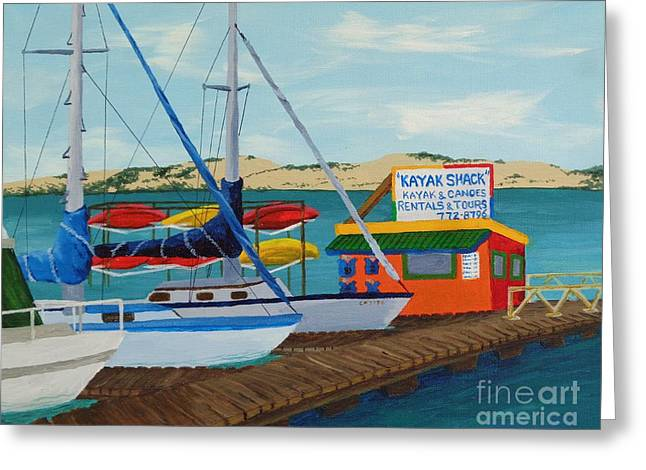 Greeting Card featuring the painting Kayak Shack Morro Bay California by Katherine Young-Beck