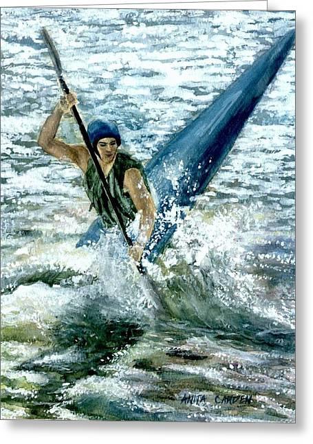 Kayaker Greeting Card by Anita Carden
