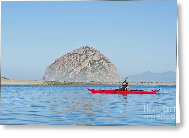 Kayaker In Morro Bay Greeting Card by Bill Brennan - Printscapes