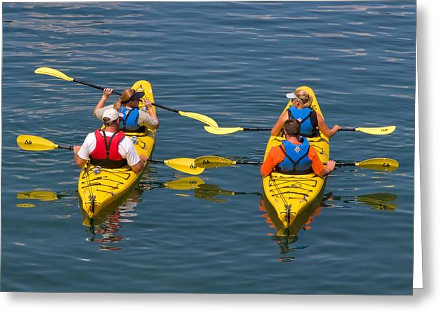 Life Jacket Greeting Cards - Kayakers in Bar Harbor Maine Greeting Card by Louise Heusinkveld