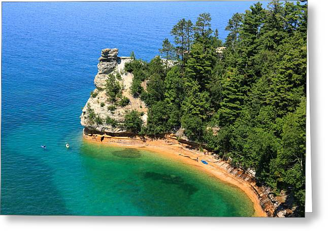 Kayaking At Miners Castle Greeting Card