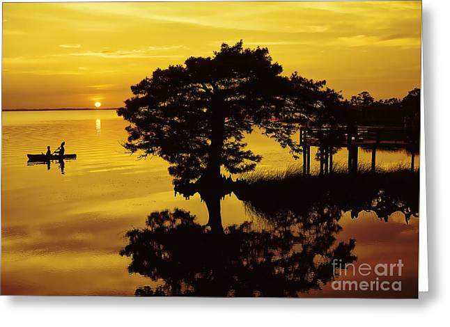 Kayaking At Sunset 2 Obx Greeting Card
