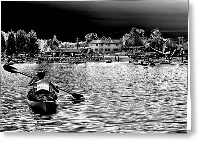 Kayaking On Old Forge Pond Greeting Card by David Patterson