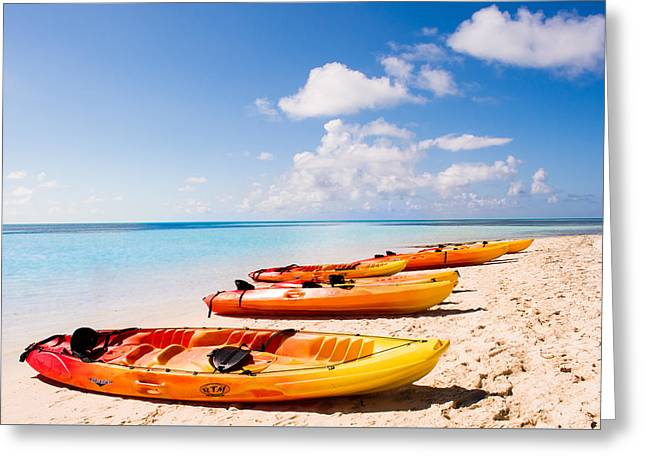 Kayaking In Paradise Greeting Card by Parker Cunningham