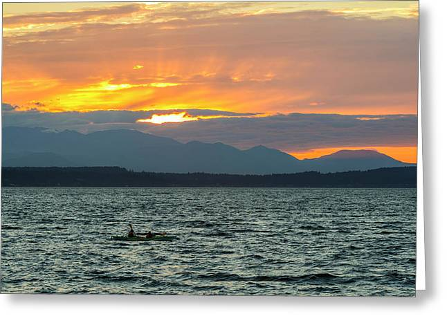 Kayaking In The Puget Sound Greeting Card
