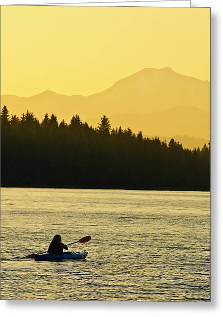 Greeting Card featuring the photograph Kayaking Lake Almanor by Sherri Meyer