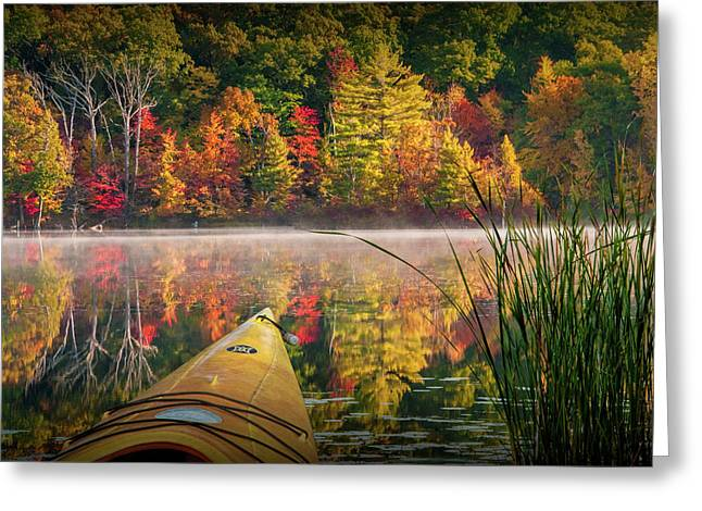 Kayaking On A Small Lake In Autumn Greeting Card by Randall Nyhof