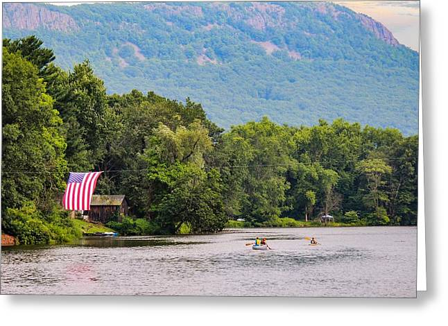 Kayaking On Nashawannuck Pond Easthampon Greeting Card