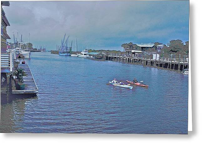 kayaking on Shem Creek Greeting Card
