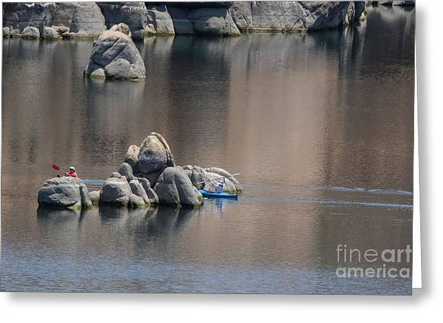 Kayaking On The Lake Greeting Card by Anne Rodkin