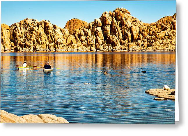 Kayaking On Watson Lake In Prescott Arizona Greeting Card by Susan Schmitz