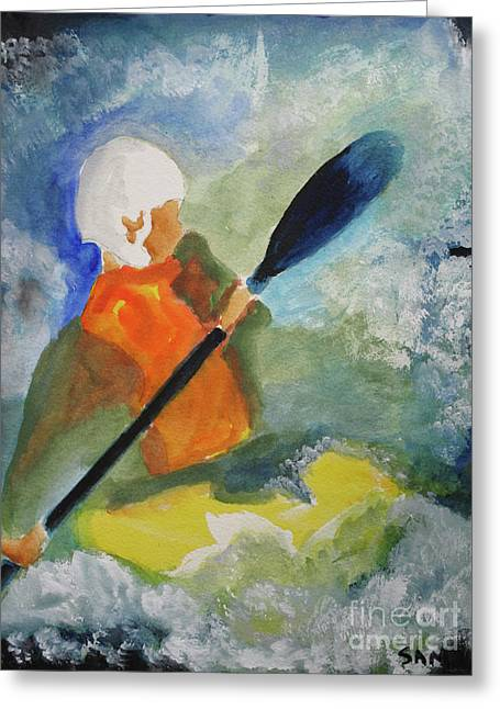 Greeting Card featuring the painting Kayaking by Sandy McIntire