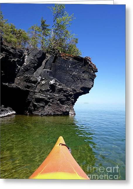 Kayaking Superior Greeting Card by Sandra Updyke