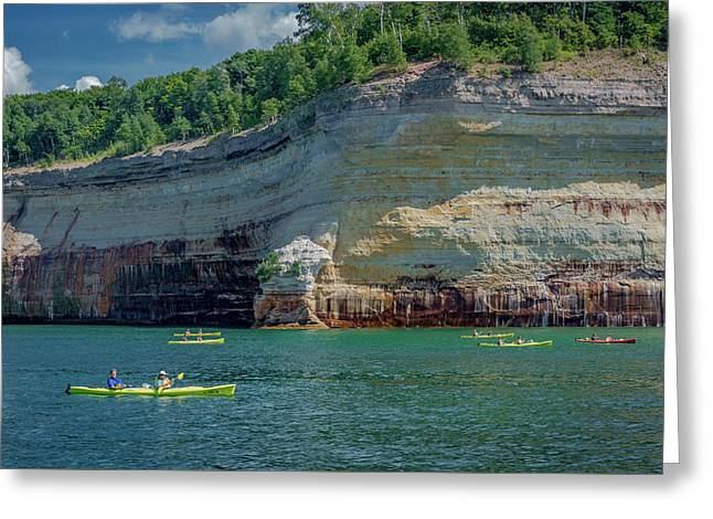 Kayaking The Pictured Rocks Greeting Card