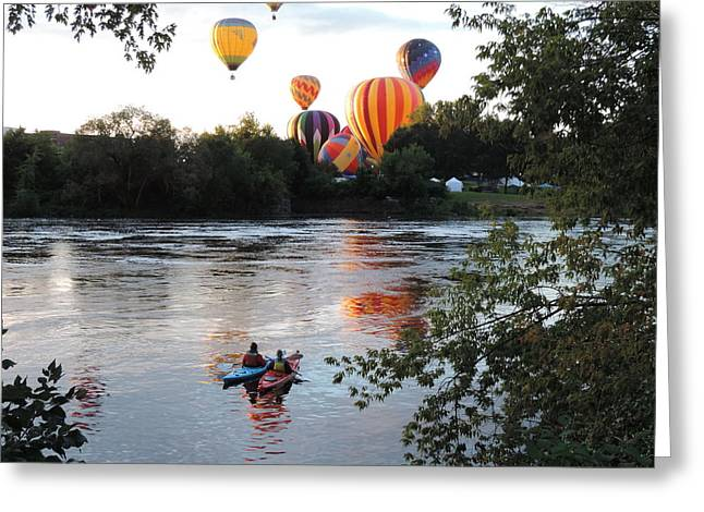 Kayaks And Balloons Greeting Card