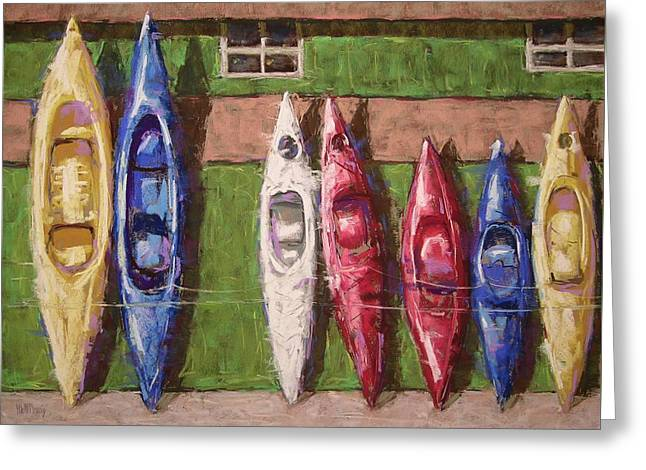Kayaks For Rent Greeting Card by Mary McInnis