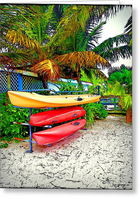 Kayaks In Paradise Greeting Card by Joan  Minchak