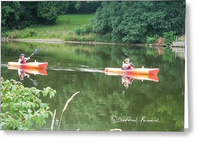 Kayaks On The River Greeting Card