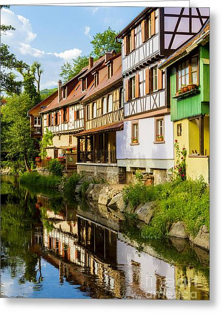 half-timbered house, Kaysersberg, Alsace, France Greeting Card by Marco Arduino