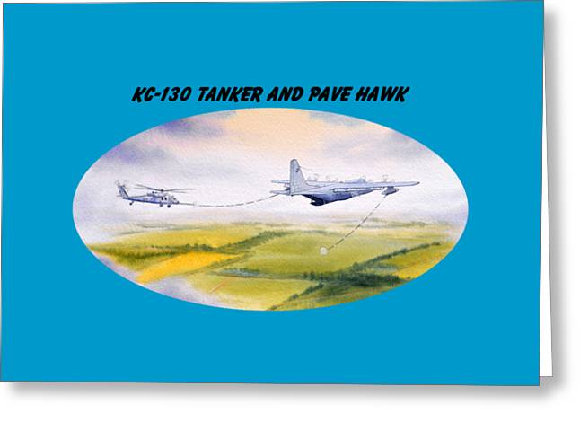 Kc-130 Tanker Aircraft And Pave Hawk With Banner Greeting Card by Bill Holkham