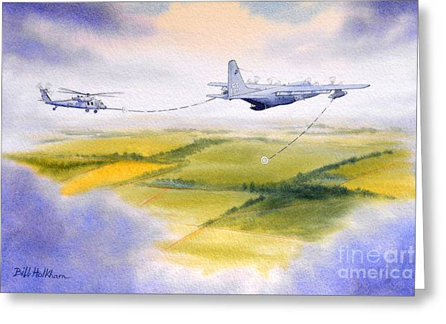 Kc-130 Tanker Aircraft Refueling Pave Hawk Greeting Card by Bill Holkham